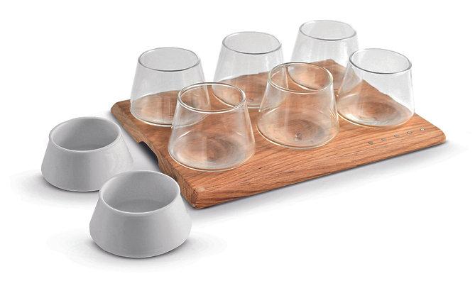 Set Vassoio + 6 Bicchieri + 2 Ciotole