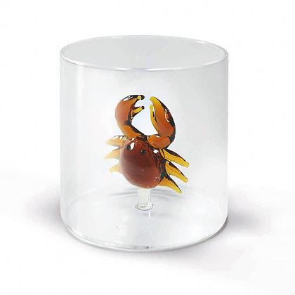 Bicchiere in vetro con soggetto - Granchio