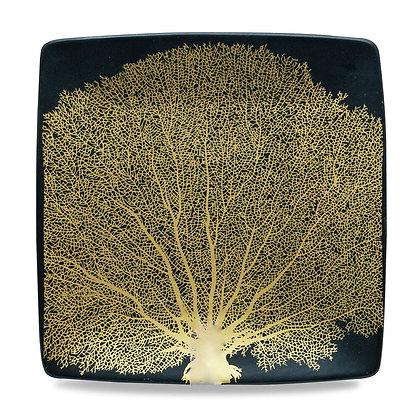 Set 4 piatti quadrati in ceramica con decoro oro
