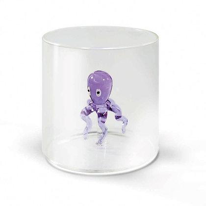 Bicchiere in vetro con soggetto - Polipo