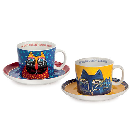 Set 2 tazze cappuccino Laurel Burch blu – giallo