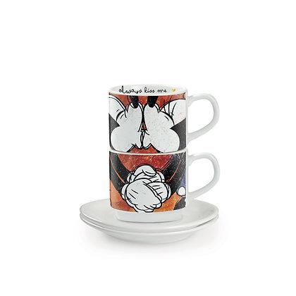 Set 2 Tazzine caffè Rosse - Micky Mouse