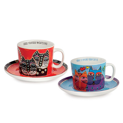 Set 2 tazze cappuccino Laurel Burch celeste – rosso