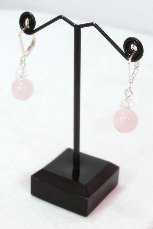 Авторские серьги с розовым кварцем