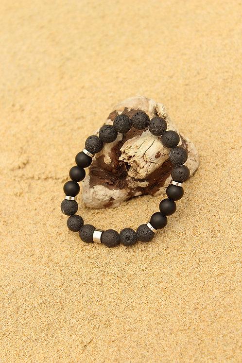 Мужской браслет из лавы и шунгита