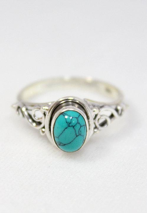 Серебряное кольцо с натуральной бирюзой