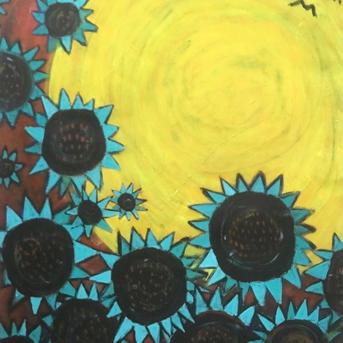#3005 Turquoise Sunflowers