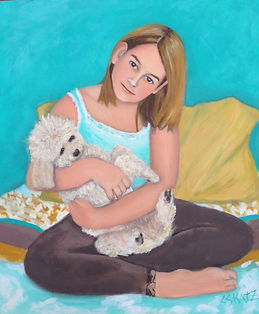 painted portrait girl and dog
