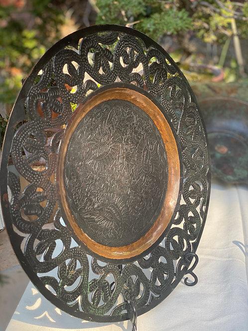 Large Copper hammered stamp platter