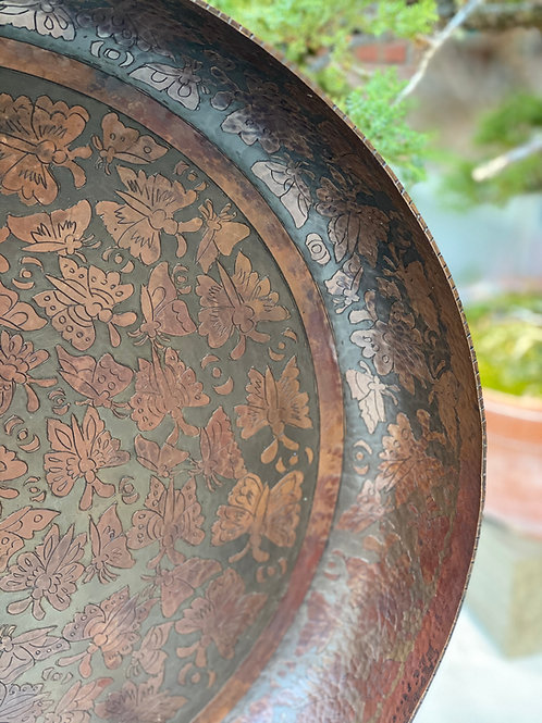 Butterfly Copper Engraved Platter