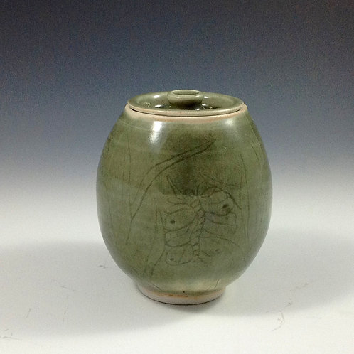 Small Green Celadon Lided Jar
