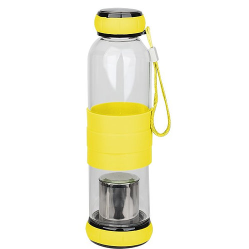 500ml Glass Tea Infuser Travel Bottle ( Yellow, Blue, Brown )