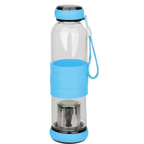 500ml Glass Tea Infuser Travel Bottle ( Blue, Yellow, Brown )