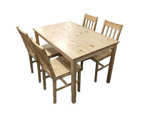 Solid Pine Wood Dining Tables & Chairs Set