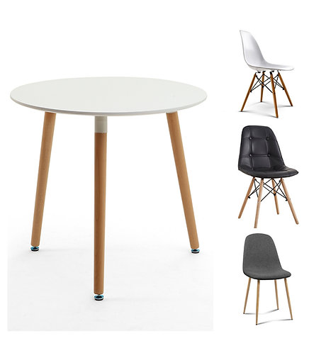 3-Piece/5-Piece White Round Dining Table & Eames Dining Chairs Set