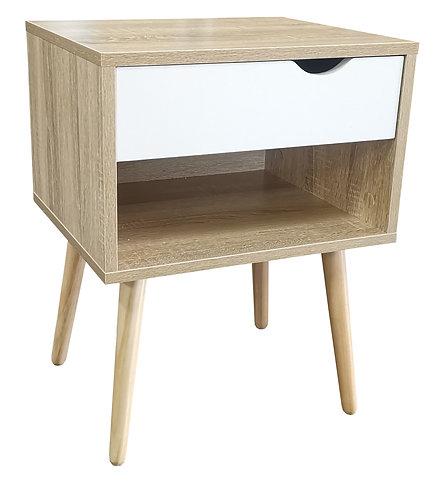 Oak + White Drawer + Open Shelf Bedside Table