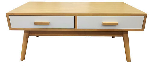 Beech Colour +White Drawer Solid Frame Coffee Table
