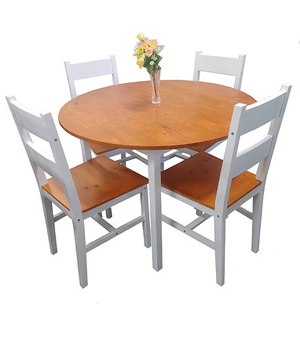 5 Piece Solid Pine Wood Round Table Dining Set
