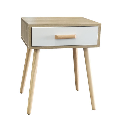 White + Oak Colour One Drawer Bedside Table