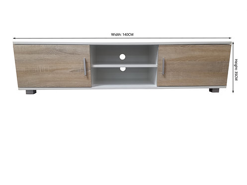 White + Oak Colour TV Unit/ Cabinet /TV Stand