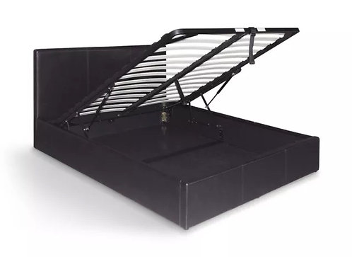 PU Leather Double Gas Lift Storage Bed Frame