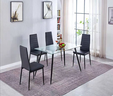 Tempered Glass Dining Table + Black PU Leather Dining CHair Set