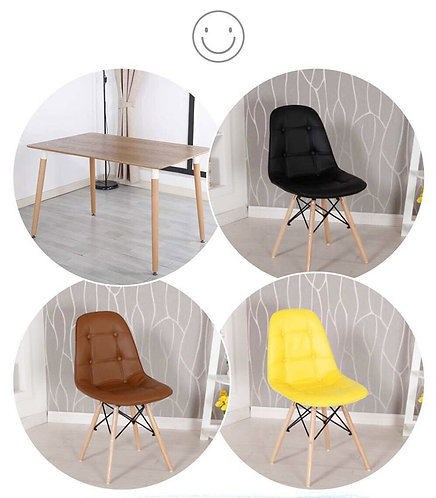 Wood Dining Tables & EAMES Dining Chairs Set