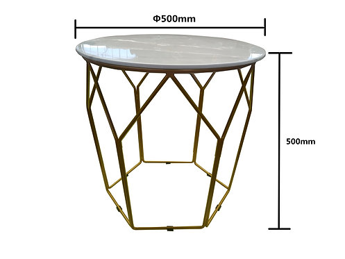 2 Piece Faux Marble Stone + Gold Round Coffee Table/Side Table Set