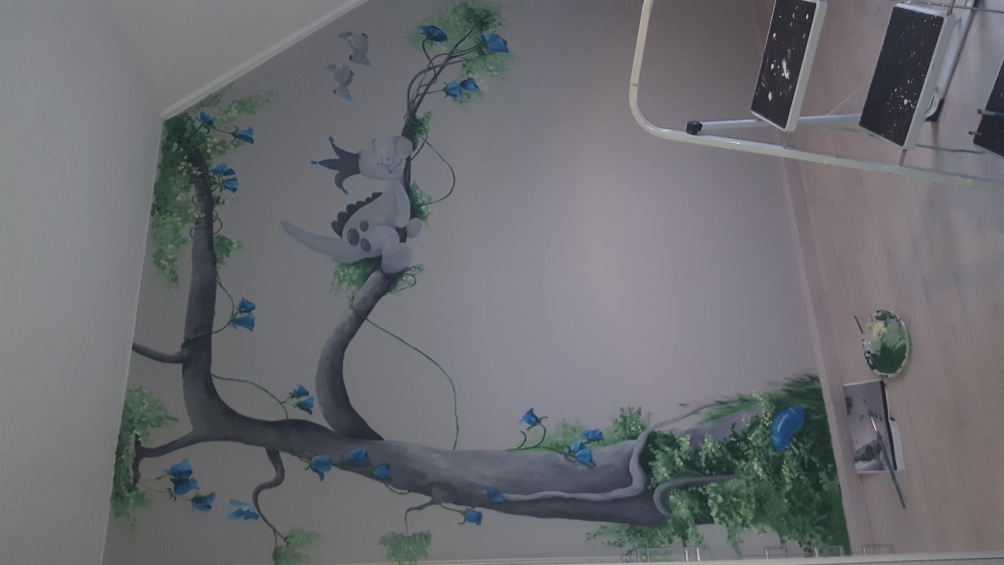 muurschildering dinosaurus