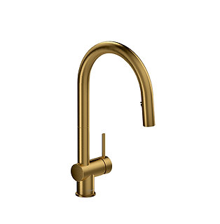 Riobel Azure kitchen faucet with2 jet sprayer - Brushed gold