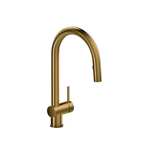 Riobel Azure kitchen faucet with2 jet sprayer - Brushed gold