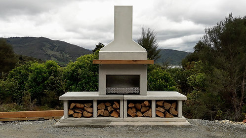 White Contemporary Fireplace with Double Base and Ground Panel Upgrade
