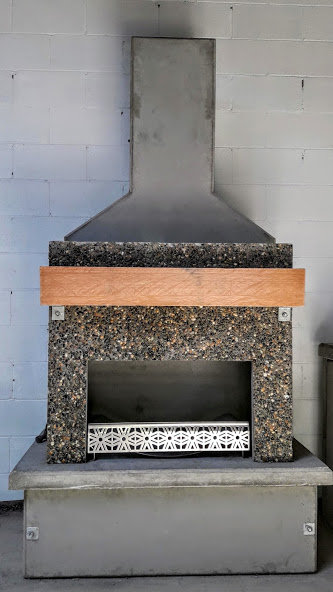 Exposed Aggregate Fireplace