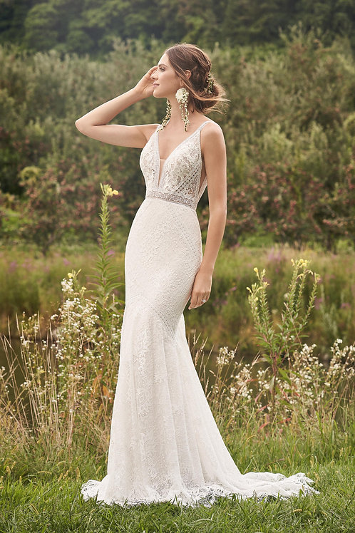 66136 Lillian West Fit & Flare Wedding Dress- In Stock