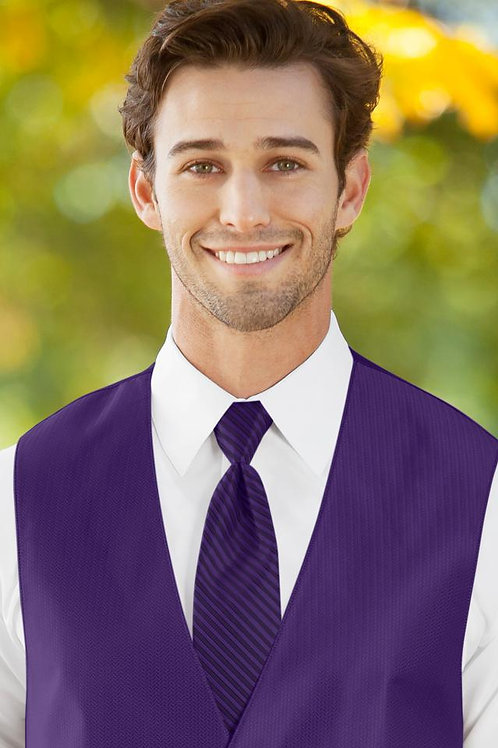 Striped Herringbone Viola Windsor Tie