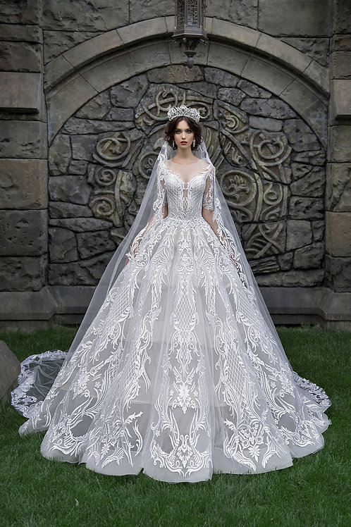 Dramatic wedding dress full ballgown Venetian lace detail all over