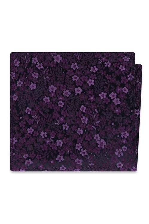 Plum Floral Pocket Square