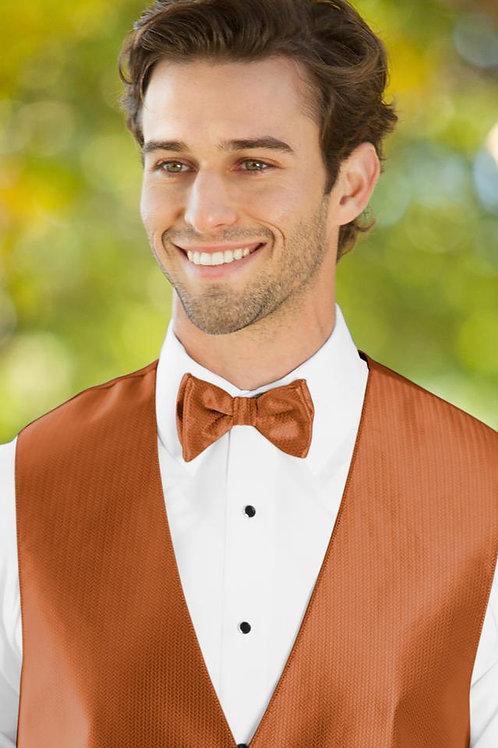 Herringbone Burnt Orange Bow Tie