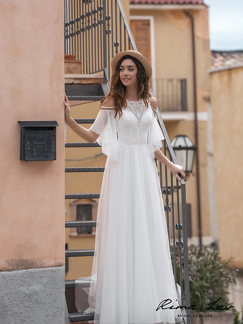 Penelopa Rima Lav Sheath Wedding Dress- To Order