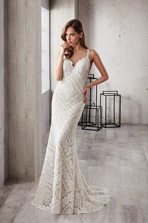 CT218 EddyK Sheath Wedding Dress- In Stock