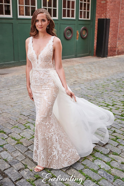 120173 Enchanting Fit & Flare/ A-line Detachable Skirt Wedding Dress- To Order