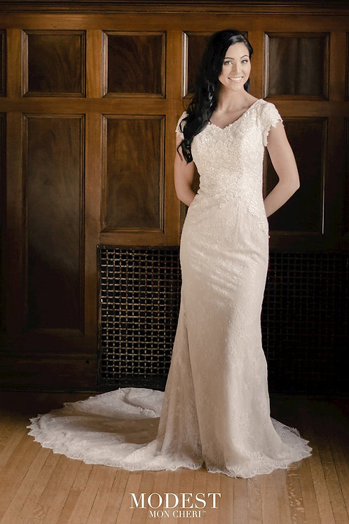 TR22064 Modest by Mon Cheri Fit & Flare Wedding Dress- To Order