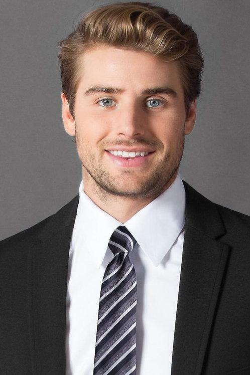 Charcoal Stripe Self-Tie Windsor Tie