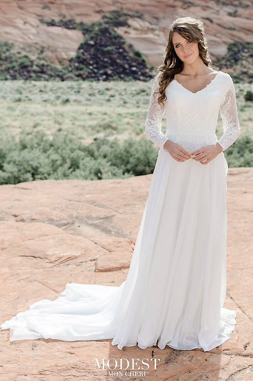 TR12021 Modest by Mon Cheri Sheath Wedding Dress- In Stock