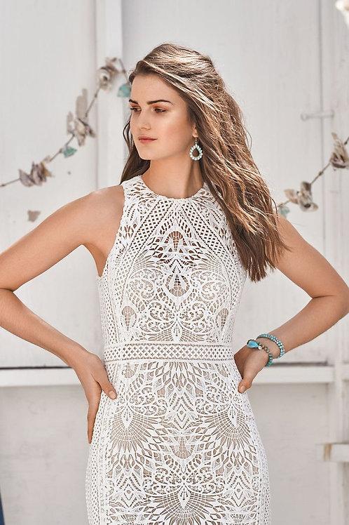 66055 Lillian West Boho Fit& Flare Wedding Dress- In Stock
