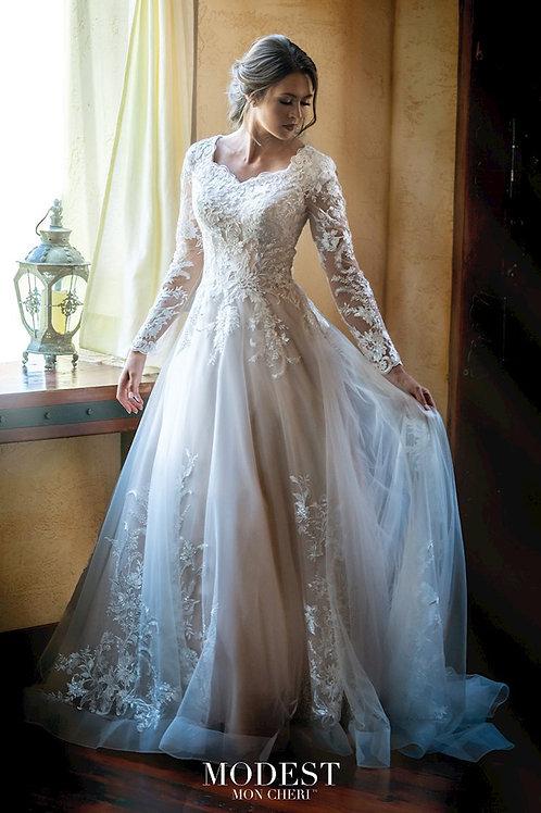 TR11972 Modest by Mon Cheri A-Line Wedding Dress- To Order
