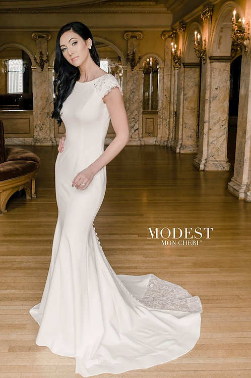 TR22054 Modest by Mon Cheri Fit & Flare Wedding Dress- To Order