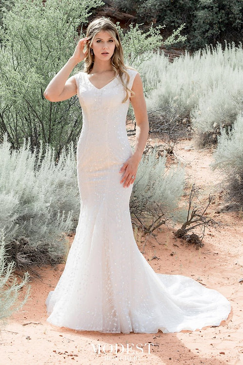 TR12027 Modest by Mon Cheri Fit & Flare Wedding Dress- In Stock