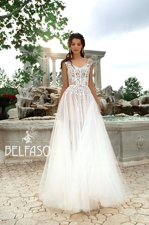 Aqua Belfaso Sheath Wedding Dress- To Order