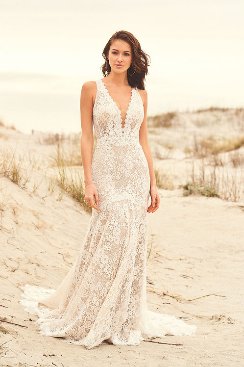 66102 Lillian West Fit & Flare Wedding Dress- To Order